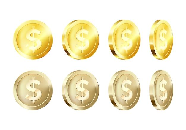 Modello di moneta d'oro metallico di rotazione. icona del dollaro d'oro. simbolo aziendale di denaro.