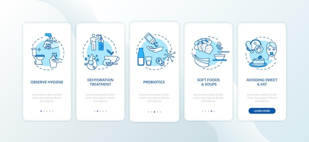 Schermata della pagina dell'app mobile di onboarding del trattamento del rotavirus con i concetti. rispetta l'igiene, evitando dolci passaggi 5 istruzioni grafiche. modello vettoriale dell'interfaccia utente con illustrazioni a colori rgb