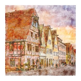 Illustrazione disegnata a mano di schizzo dell'acquerello di rothenburg germania