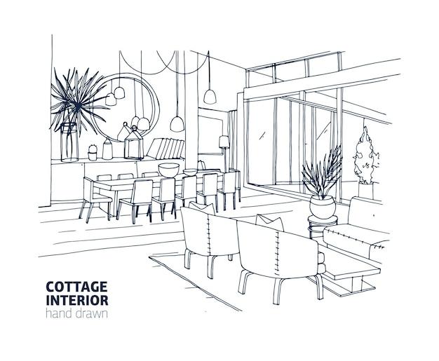 Disegno monocromatico approssimativo dell'interno di una casa o cottage estivo con mobili eleganti e decorazioni per la casa