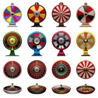 Le icone della roulette hanno impostato il vettore del fumetto. ruota della fortuna. gira fortunato gioco