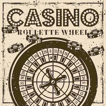 Poster o banner vintage della ruota della roulette per casinò con texture grunge e graffi