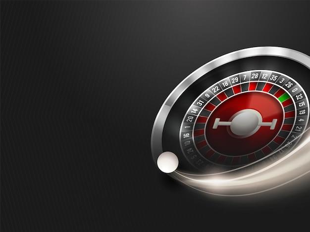 Ruota della roulette con effetto luci su sfondo nero motivo a strisce.