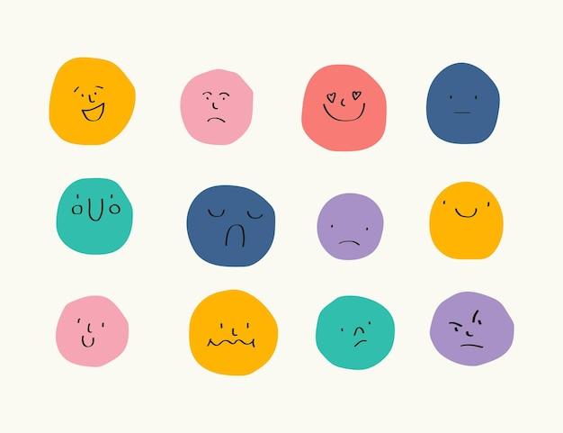 Facce rotonde astratte con varie emozioni stile di disegno diversi personaggi colorati