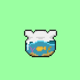 Acquario rotondo con stile pixel art