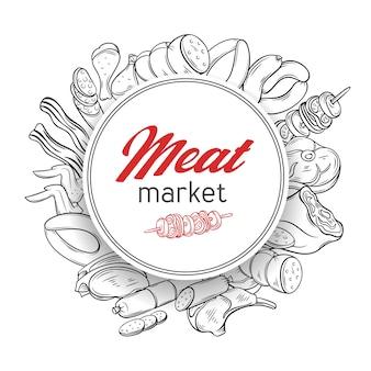 Modello di banner rotondo con prodotti a base di carne gastronomici di incisione disegnata a mano