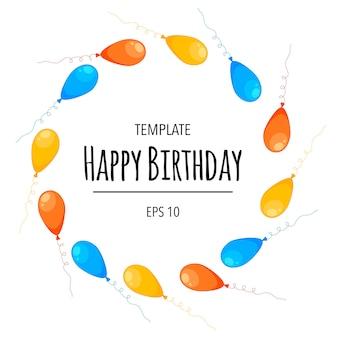 Cornice rotonda di compleanno per il tuo testo con palloncini. stile cartone animato. vettore.