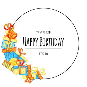 Cornice rotonda di compleanno per il tuo testo con scatole regalo. stile cartone animato. vettore.