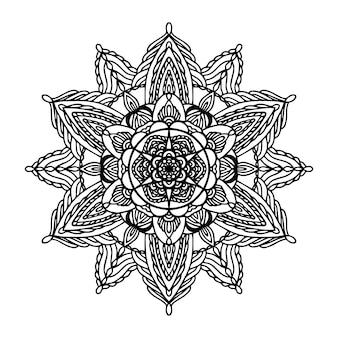 Mandala rotondo nero su sfondo bianco isolato. vector boho mandala con motivi floreali. concetto di yoga, terapia antistress