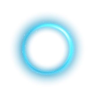 Luce blu tonda su sfondo bianco