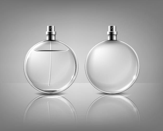 Bottiglia rotonda di profumo e ampty isolato su sfondo grigio