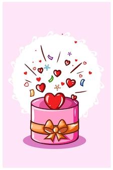 Scatola rotonda contenente amore nel giorno di san valentino, illustrazione del fumetto