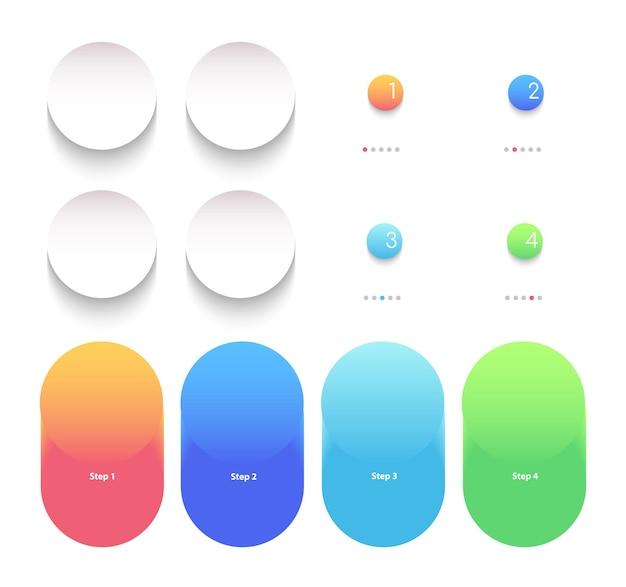 Insieme di elementi infographic gradiente luminoso rotondo