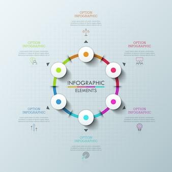 Grafico rotondo con 6 elementi, frecce che puntano a simboli di linee sottili e caselle di testo. concetto di menu a discesa per applicazioni web o mobili.