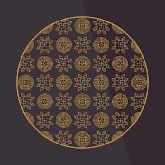 Elementi decorativi cinesi rotondi. cornice, bordo, piastrelle. arredamento tradizionale per biglietto di auguri.