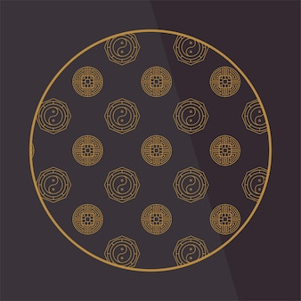 Elementi decorativi cinesi rotondi con motivo. cornice, bordo, piastrelle. motivi e decorazioni tradizionali per biglietti di auguri, motivi, tessuti. per abbigliamento, mobili e imballaggi. icone vettoriali piatte.