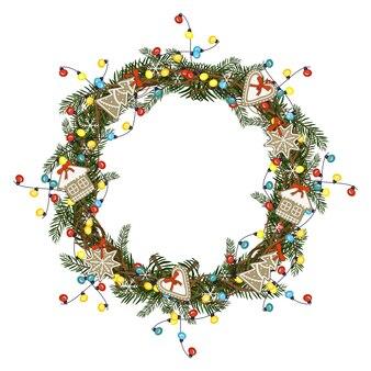 Ghirlanda natalizia rotonda di rami di abete con ghirlanda di lampadine colorate di pan di zenzero e fiocchi di neve...
