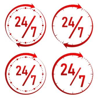 24 ore su 24, icona del servizio 24 ore su 24, 7 giorni su 7, stile monocromatico. illustrazione vettoriale.