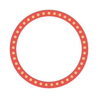 Cornice rossa colorata rotonda con lampadine. illustrazione vettoriale
