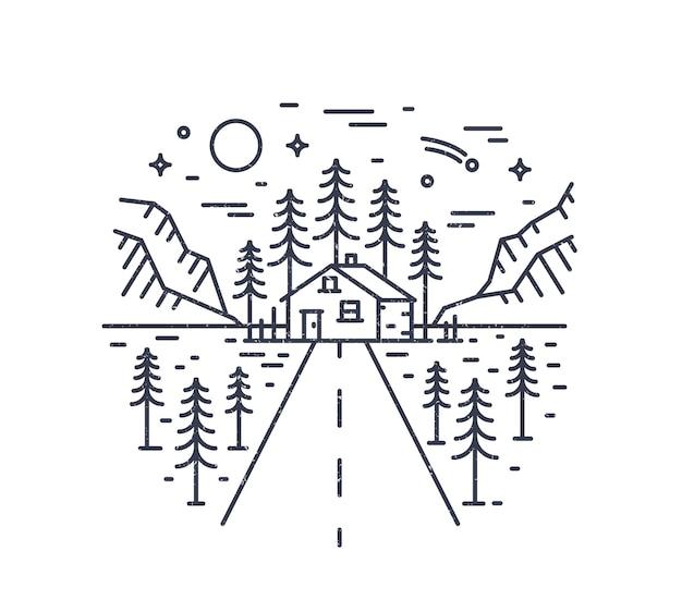 Composizione rotonda con autostrada che porta a lodge, casa o capanna nel bosco circondato da abeti e montagne disegnate con curve di livello. monocromo