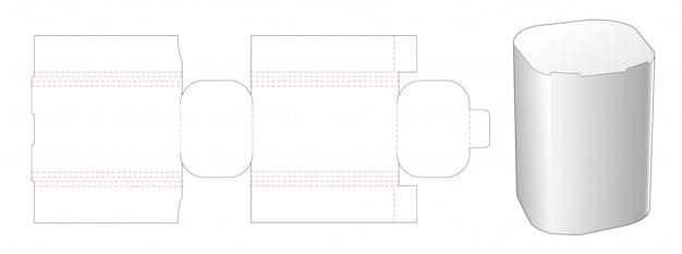 Disegno del modello fustellato scatola angolare rotonda