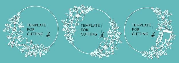 Cornici decorative rotonde con fiori. modelli per il taglio di carta, plotter o taglio laser.