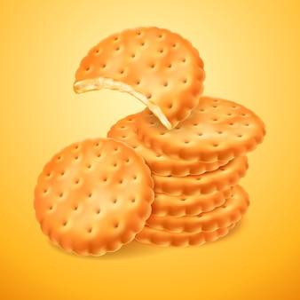 Biscotti o cracker deliziosi rotondi isolati su priorità bassa gialla. la forma morsa del biscotto. cottura croccante. illustrazione 3d per l'imballaggio o la pubblicità di progettazione.