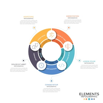 Diagramma rotondo diviso in 5 parti colorate uguali con icone a linea sottile e indicazione dell'anno. concetto di processo ciclico annuale. modello di progettazione infografica minimale. illustrazione di vettore per l'opuscolo.