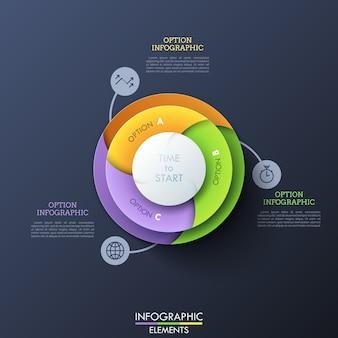 Diagramma circolare diviso in tre settori a spirale colorati collegati con icone a linea sottile e caselle di testo. elemento dell'interfaccia del sito web.