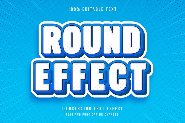 Effetto rotondo 3d testo modificabile effetto moderno blu bianco testo stile