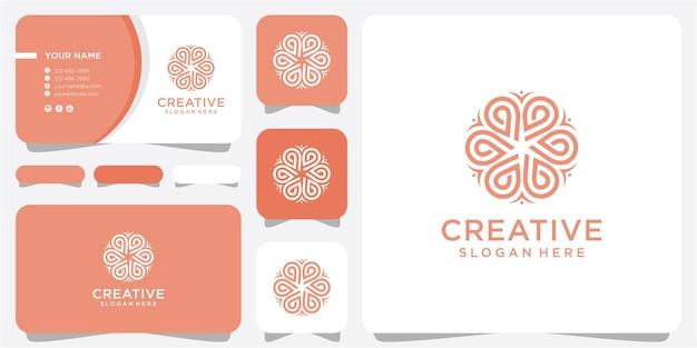 Fiore rotondo dell'emblema in uno stile lineare del cerchio n. distintivo astratto vettoriale per la progettazione di prodotti naturali, negozio di fiori, cosmetici, concetti di ecologia, salute, spa, centro yoga.