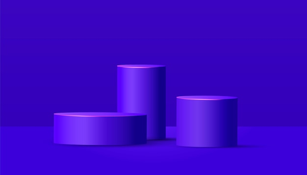 Round fasi vuote e podio su sfondo viola. scena minimale con forme geometriche per la presentazione del prodotto.