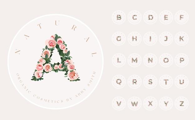 Set di design del logo premade femminile rotondo con fiori di peonia