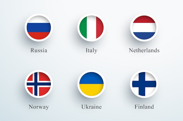 Round flag icon set russia italia paesi bassi
