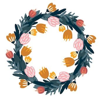 Illustrazione vettoriale disegnata a mano cornice floreale rotonda piante ghirlanda floreale doodle stile di disegno