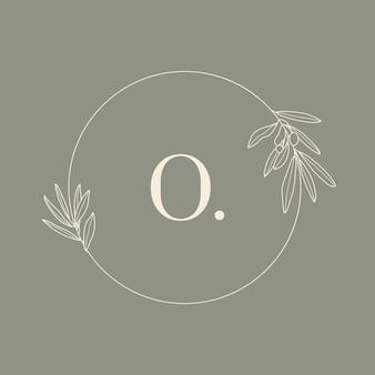 Cornice floreale rotonda con la lettera o. monogramma di nozze e logo con ramo d'ulivo in stile moderno e minimale. modello di vettore per biglietti d'invito, save the date. illustrazione botanica
