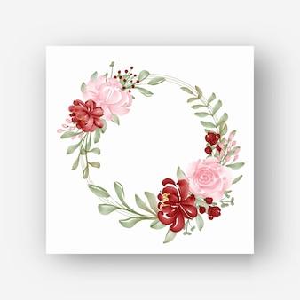 Cornice floreale rotonda con fiori ad acquerello rossi e rosa
