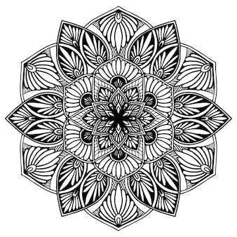 Mandala fiore rotondo per henné isolato su bianco Vettore Premium