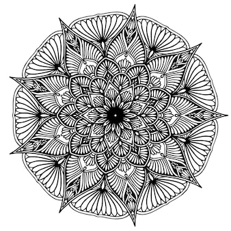 Mandala fiore rotondo per henné isolato su bianco