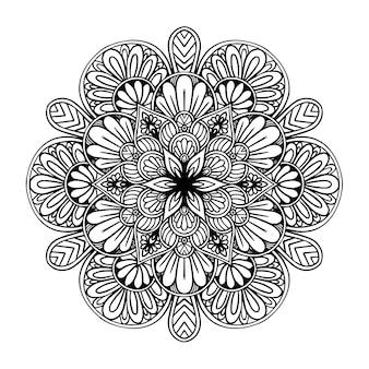 Mandala fiore rotondo per tatuaggio, henné o pagina da colorare Vettore Premium