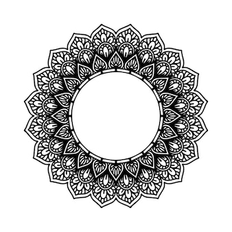 Mandala fiore rotondo per tatuaggio, henné o pagina da colorare