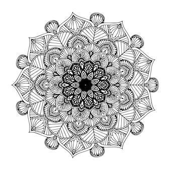 Mandala fiore rotondo per tatuaggio all'henné