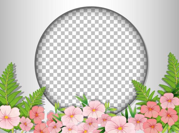 Cornice rotonda trasparente con modello di campo di fiori rosa