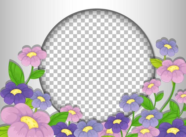 Cornice rotonda trasparente con modello di fiori viola