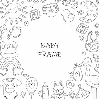 Cornice rotonda con elementi in bianco e nero sul tema della nascita di un bambino in stile scarabocchio