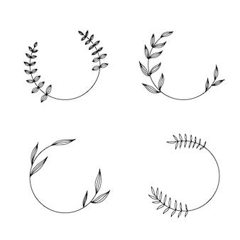 Cornice rotonda con fiori e foglie in stile lineare disegnato a mano