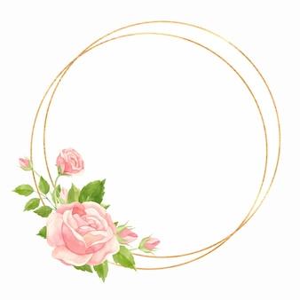 Cornice rotonda con rose rosa e cornice geometrica oro floral