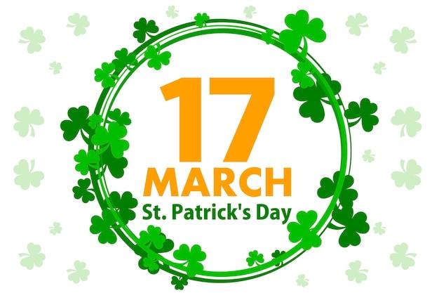 Cornice rotonda con foglie di trifoglio su sfondo bianco. illustrazione per happy st. patrick day. biglietto di auguri, poster, banner. oggetti su un livello separato