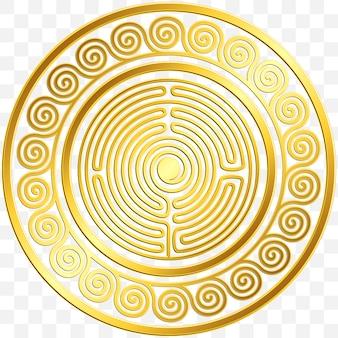 Cornice rotonda con tradizionale ornamento greco dorato vintage