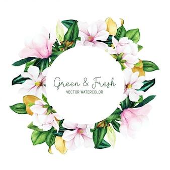 Cornice rotonda con foglie e fiori di magnolia dell'acquerello